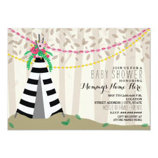 Boho Floral Striped Teepee Woodland Baby Shower Card