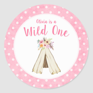 Boho Floral Tribal Teepee Wild One 1st Birthday Classic Round Sticker