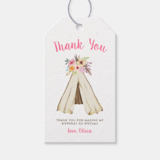 Boho Floral Tribal Teepee Wild One 1st Birthday Gift Tags