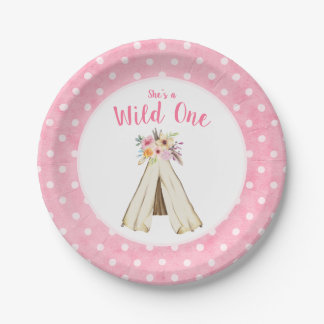 Boho Floral Tribal Teepee Wild One 1st Birthday Paper Plate