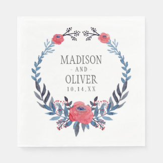 Boho Floral Watercolor Red Roses   Wedding Disposable Napkin