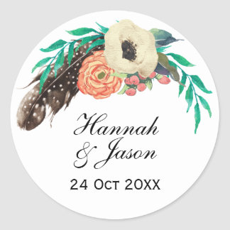 Boho Floral Watercolor Wedding Round Sticker