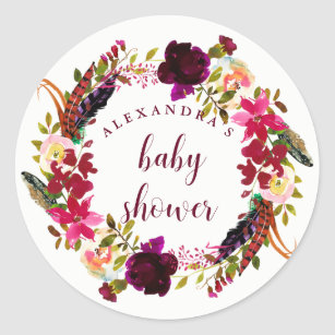 082ec82b5 Floral Wreath Baby Shower Stickers