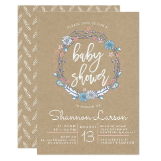 Boho Floral Wreath Baby Shower Invitation