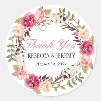 Boho Floral Wreath Thank You Wedding Favor Round Sticker
