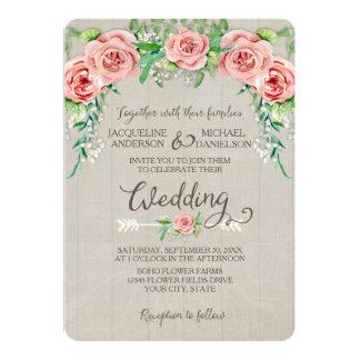 BOHO Flower Crown Baby's Breath Wood Fence Wedding 13 Cm X 18 Cm Invitation Card