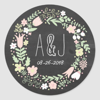 Boho Flower Wreath Rustic Chalkboard Wedding Round Sticker