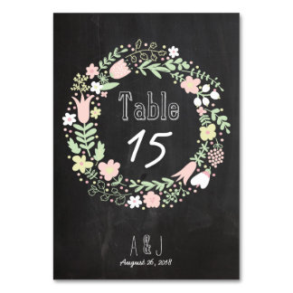 Boho Flower Wreath Rustic Chalkboard Wedding Table Card