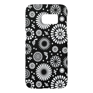 Boho flowers Black and White vector floral pattern