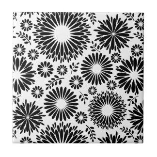 Boho flowers Black and White vector floral pattern Ceramic Tile