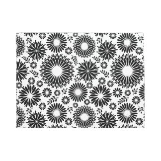Boho flowers Black and White vector floral pattern Doormat