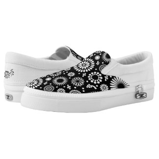 Boho flowers Black and White vector floral pattern Slip On Shoes