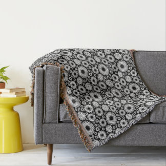Boho flowers Black and White vector floral pattern Throw Blanket
