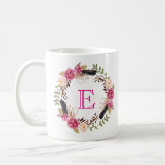 Boho Flowers Coffee Mug Monogram Mug Floral Mug
