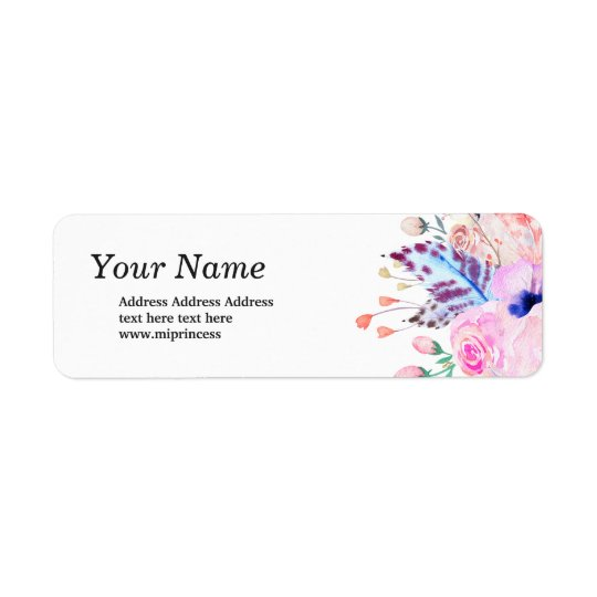 boho flowers floral  return address stickers