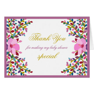 Boho Foliage Hibiscus Thank You Note Card