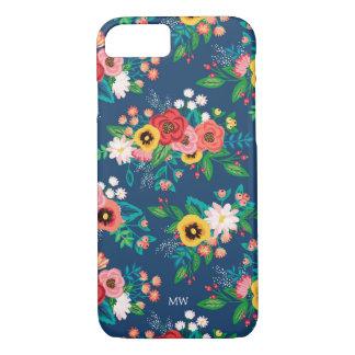Boho Folk Floral Pattern - Monogram iPhone 8/7 Case