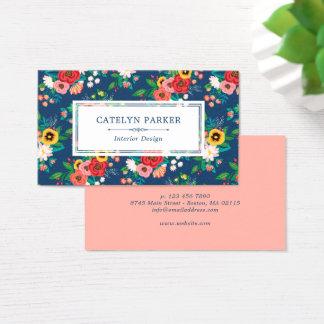 Boho Folk Flower Pattern - Deep Blue & Coral Business Card
