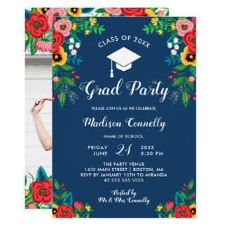 Boho Folk Flowers Graduation Party Card