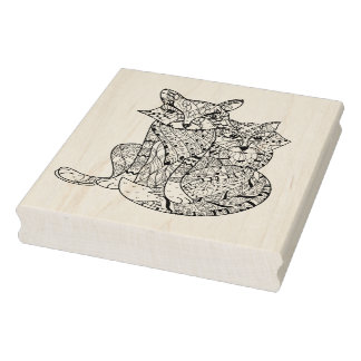 Boho Fox Doodle Rubber Stamp