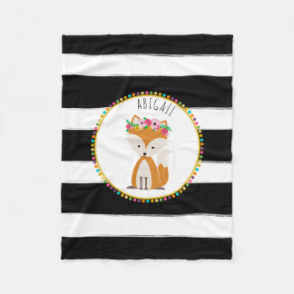 Boho Fox Stripe Girls Fleece Blanket