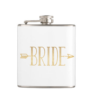Boho Gold Arrow Bride Flask