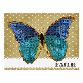 Boho Gold & Blue Butterfly Faith Postcard