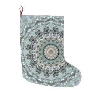 Boho Gray and Turquoise Holiday Large Christmas Stocking