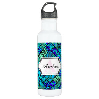 Boho Green blue abstract tribal pattern 710 Ml Water Bottle