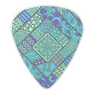Boho Green blue abstract tribal pattern Acetal Guitar Pick