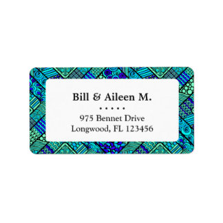 Boho Green blue abstract tribal pattern Address Label