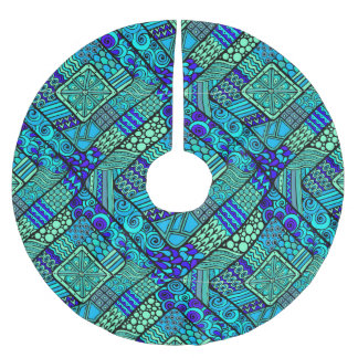 Boho Green blue abstract tribal pattern Brushed Polyester Tree Skirt