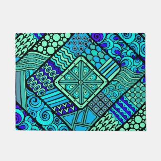 Boho Green blue abstract tribal pattern Doormat