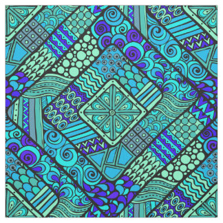 Boho Green blue abstract tribal pattern Fabric