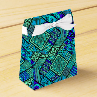 Boho Green blue abstract tribal pattern Favour Box