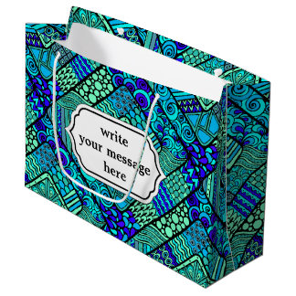 Boho Green blue abstract tribal pattern Large Gift Bag