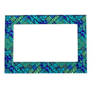 Boho Green blue abstract tribal pattern Magnetic Picture Frame