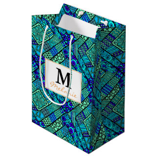 Boho Green blue abstract tribal pattern Medium Gift Bag