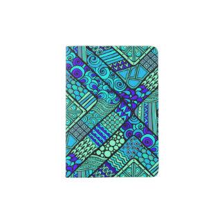 Boho Green blue abstract tribal pattern Passport Holder