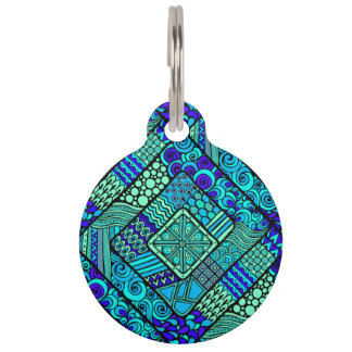 Boho Green blue abstract tribal pattern Pet Tag