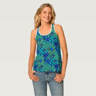Boho Green blue abstract tribal pattern Singlet