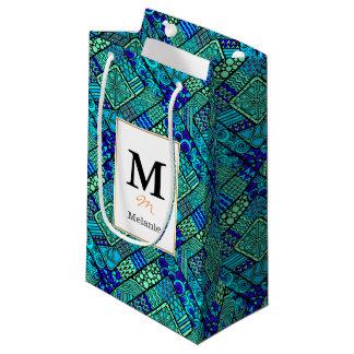 Boho Green blue abstract tribal pattern Small Gift Bag