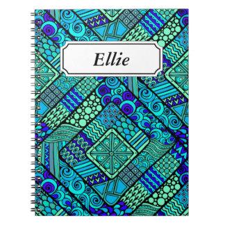 Boho Green blue abstract tribal pattern Spiral Notebook