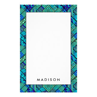 Boho Green blue abstract tribal pattern Stationery