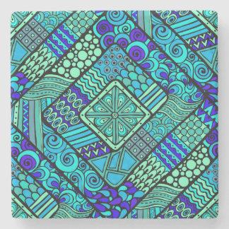 Boho Green blue abstract tribal pattern Stone Beverage Coaster