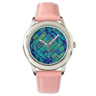 Boho Green blue abstract tribal pattern Watch