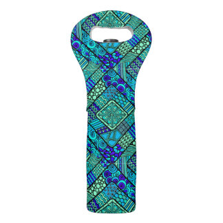 Boho Green blue abstract tribal pattern Wine Bag