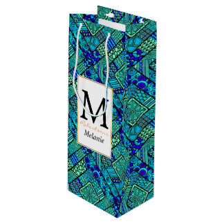 Boho Green blue abstract tribal pattern Wine Gift Bag