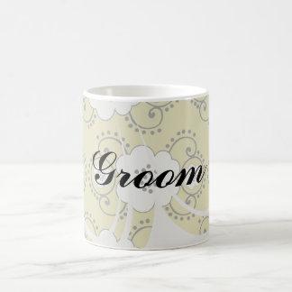 boho green white shabby chic flower damask basic white mug