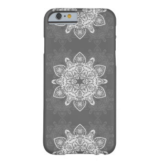 Boho Grunge Mandala Gray and White Pattern Barely There iPhone 6 Case